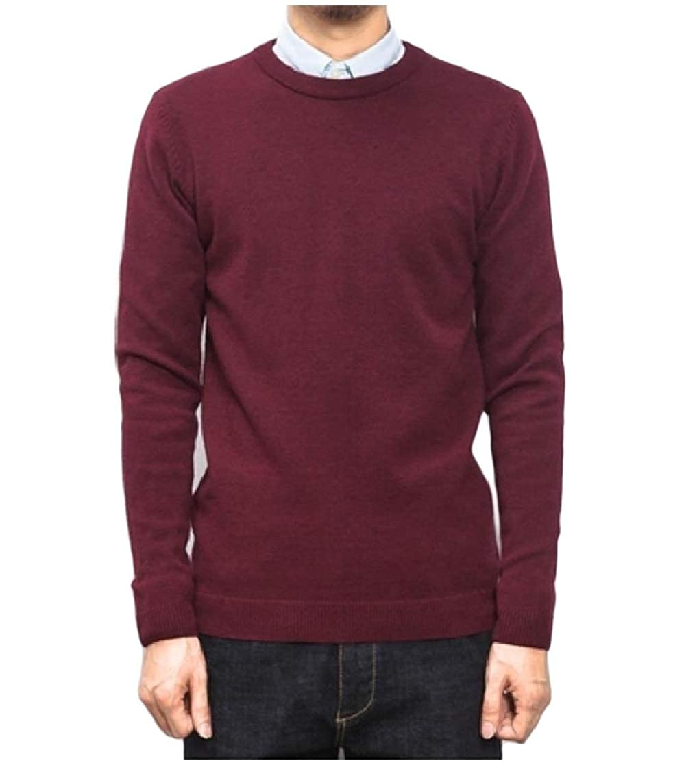 YUNY Mens Knit Plus-Size Thin Solid Color Crew Neck Pullover Sweater Wine Red XL