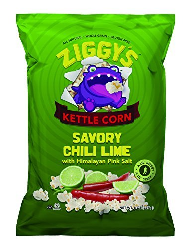 UPC 852074004053, Ziggy's Savory Chili Lime Whole Grain Kettle Popcorn with Himalayan Pink Sea Salt, 84 Minerals, Gluten Free, Case of 12 (8 Oz Bags)