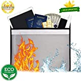 Fireproof Document Bag, Non-Itchy Silicone Coated Fiberglass Pouch Resistant Money Bag Fireproof Waterproof Safe Storage Holder Bag for Money, Documents, Jewelry and Passport (Envelope Pouch)