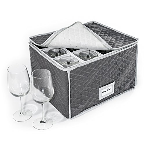 "StackStorePlusMore Stemware Storage Case - Quilted Fabric Container in Gray Measuring 16"" x 13"" x 10""H - Inside compartment is 4"" x 4"" - Perfect Storage Case for White and Red Wine Beer Mugs"