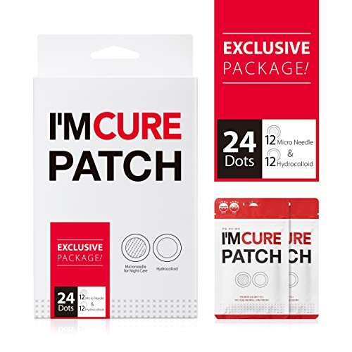KARATICA Hydrocolloid I'M CURE PATCH Acne Pimple Instant Healing Patch, Absorbing Hyaluronic Acid, Sodium Hyaluronic, Invisible, Microneedle 6ea + Hydrocolloid 6ea X 2 Sheet (Best Cure For Acne)
