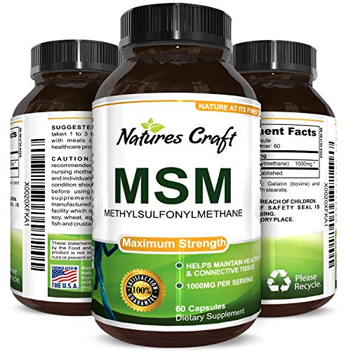 Pure MSM Supplement Capsules  Joint Support for Increased Flexibility and Pain Relief with Anti Wrinkle, Anti Aging Collagen Boosting Pills and Antioxidant Supplement For Men and Women
