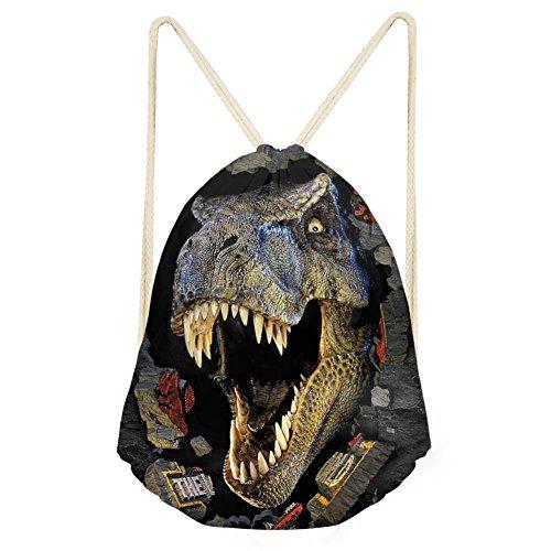 Cozeyat Dinosaur Drawstring Backpack Tie Dye Personalized Sports Gym Bags
