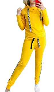 dahuo Damen 2-teiliges Set mit Rei/ßverschluss Crop Tops und Skinny Lange Hose Trainingsanzug