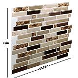 "Vamos Tile Premium Anti Mold Peel and Stick Tile Backsplash,Stick On Backsplash Wall Tiles for Kitchen & Bathroom-Self Adhesive-10.62"" x 10"" (6 Sheets)"