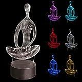 Goodqueen 3D illusion Yoga Meditation Night Light, 7 Color Change -USB LED Desk Table Lamp