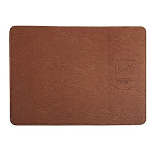 TOOGOO Qi Charger Charging Mouse Pad Mat Pu Leather Mousepad for X/8 Plus S8 Plus/Note 8 Brown Leather