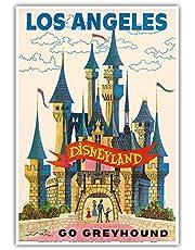 Pacifica Island Art Los Angeles California - Disneyland - Go Greyhound - Vintage Advertising Poster c.1950s - Master Art Print