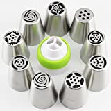 Mujiang Large Size Stainless Steel Russian Icing Piping Tips Set Of 10