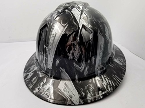 Wet Works Imaging Customized Pyramex Full Brim GRIM REAPER SKULL SHOOTER HARD HAT With Ratcheting Suspension CUSTOM LIDS CRAZY SICK CONSTRUCTION PPE by Wet Works Imaging (Image #1)