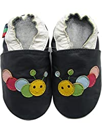 Carozoo Caterpillar Dark Blue s Baby Boy Soft Sole Leather Shoes