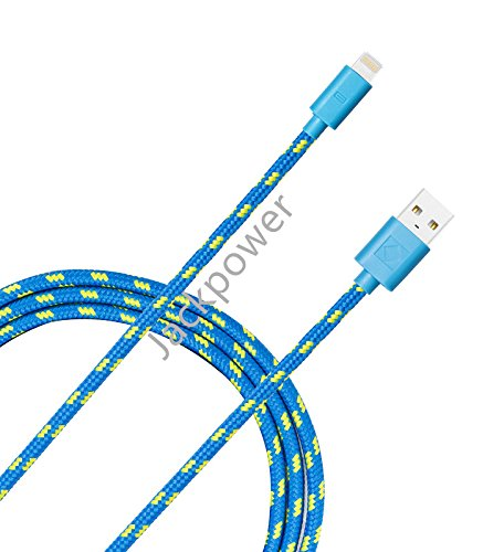 Iphone cable, Jackpower MFI Certified Lightning USB Nylon Braided Charging Cable 10ft Extra Long Cord for Apple iPhone6/6s/6 plus/5c/5s/5/SE,iPad,iPod(BLue) (Blue Usb Cord compare prices)