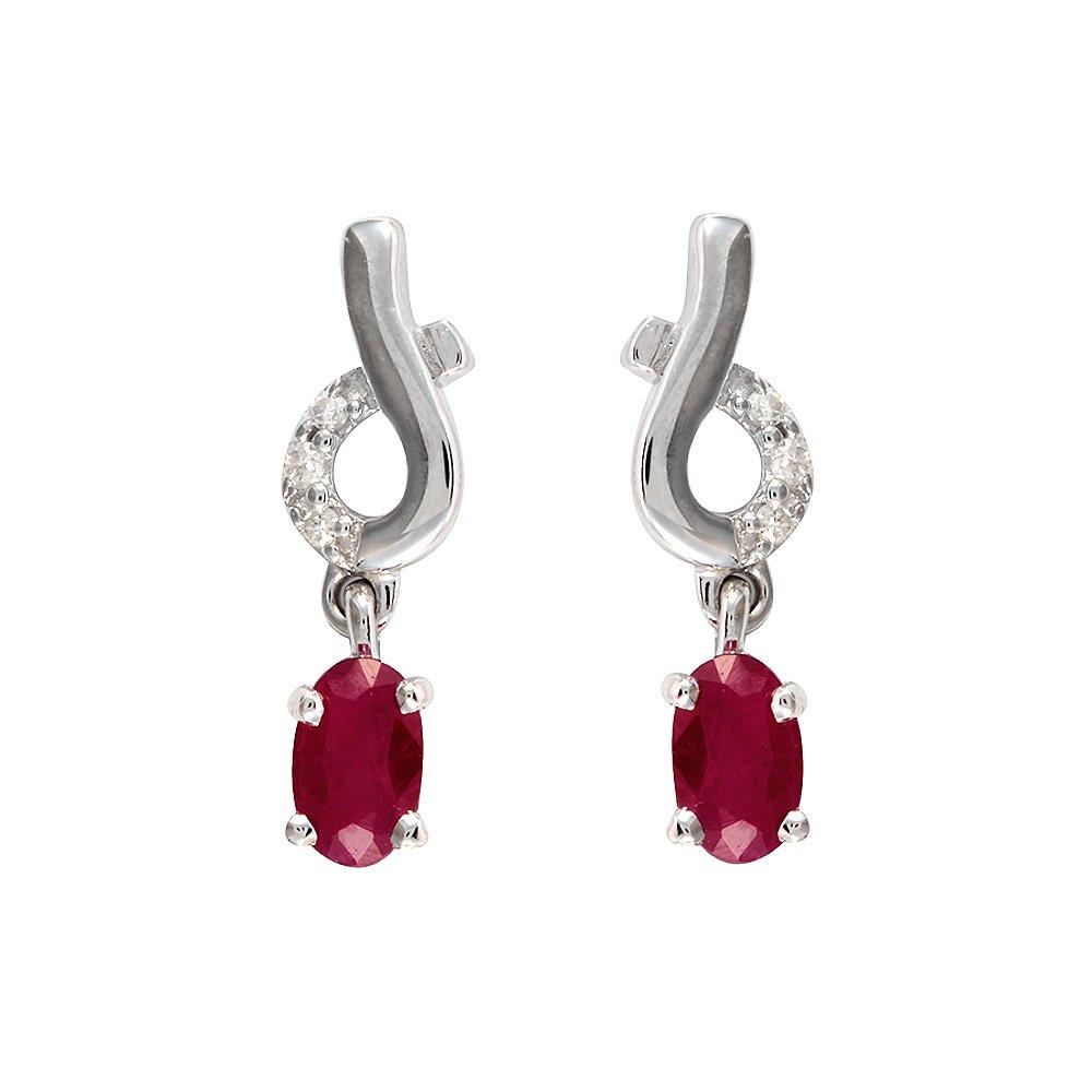 126f1e099 Ivy Gems 9ct White Gold Ruby and Diamond Twist Drop Earrings: Amazon.co.uk:  Jewellery