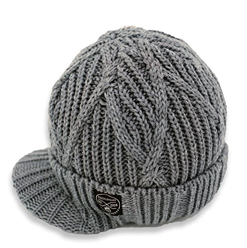 - Born to Love Knuckleheads - Gray Boy's Baby Visor Beanie Hat with Stripes Detail (L, Gray Cable Knit)