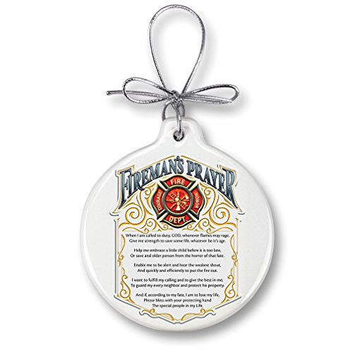 Christmas Ornaments – Firefighter Gifts for Men or Women – Patriotic Ornaments with a Silver Ribbon – Firemans Prayer Xmas Ornament (1 Piece) for $<!--$13.94-->