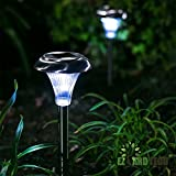 Pack of 10 Solar Garden Path Lights- NOW WITH 10 Lumen Brightness, Upgraded Solar Panel, Upgraded Battery. EZ To Install, No Wires, Energy Saving, and Long Lasting.