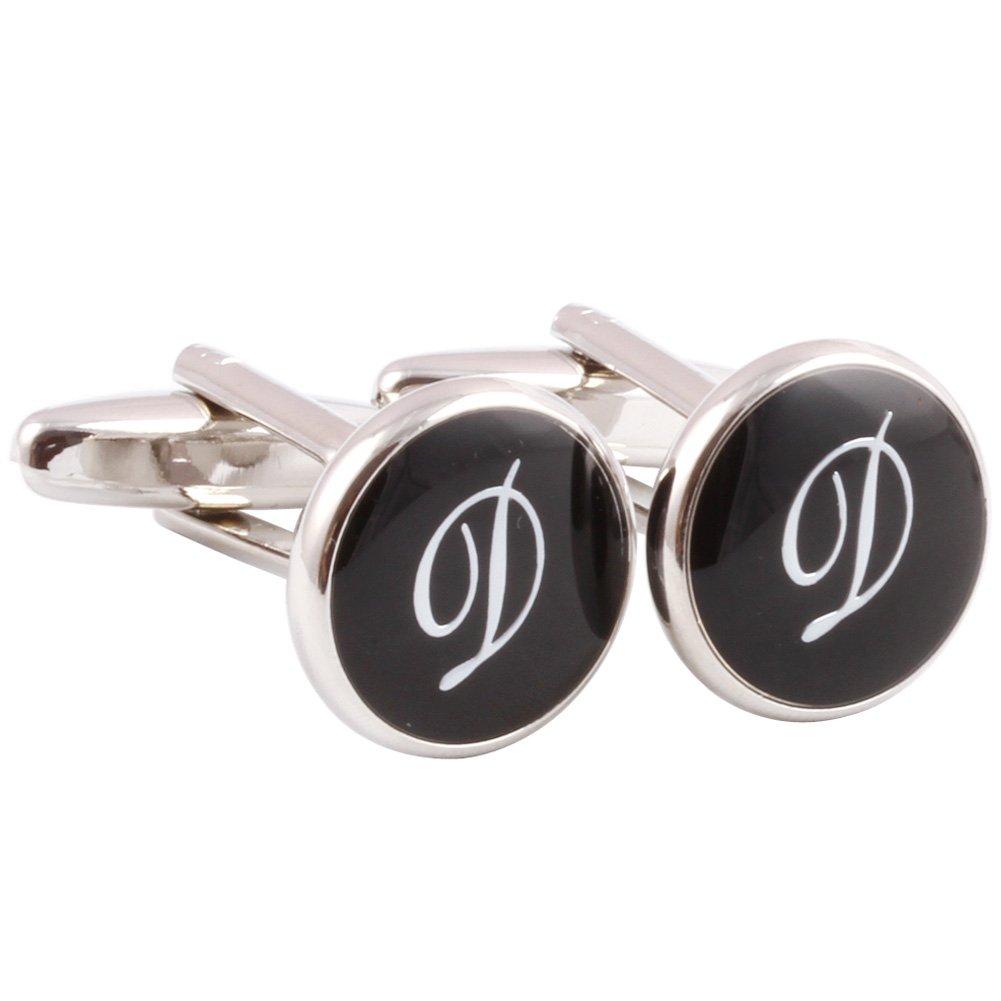 HJ Men's 2PCS Rhodium Plated Cufflinks Silver Initial Letter Shirt Wedding Business 1 Pair Set Black D
