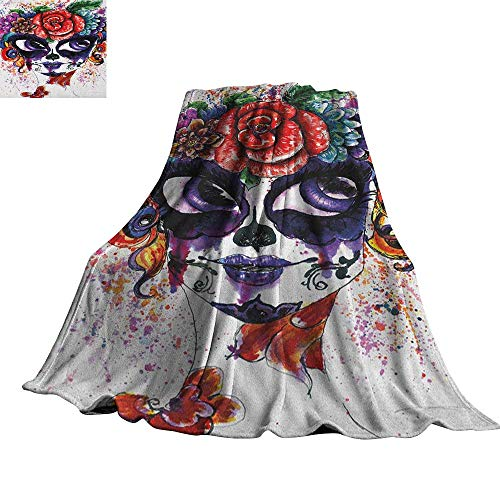 RenteriaDecor Sugar Skull,Throws Watercolor Painting Style Girl Face with Make Up and Floral Crown Big Eyes All Season Blanket 60