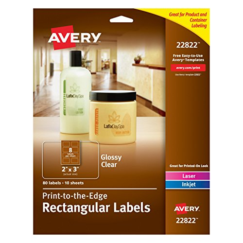 Avery Easy Peel Print-To-The-Edge Rectangle Labels, 2 x 3 Inches, Glossy Clear, Pack of 80 (22822)