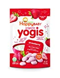 Happy Baby Organic Yogis Freeze-Dried Yogurt & Fruit Snacks Strawberry, 1 Ounce Bag (Pack of 8) Organic Gluten-Free Easy to Chew Probiotic Snacks for Babies & Toddlers (Packaging May Vary)
