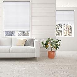 Calyx Interiors Light Filtering White Cordless Fabric Roman Shade