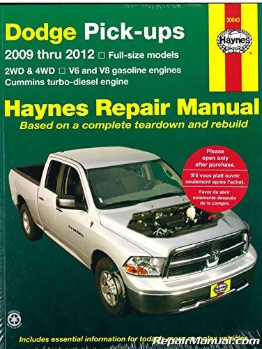 H30043 2009 – 2012 Dodge Ram Pick-Up Truck Haynes Repair Manual