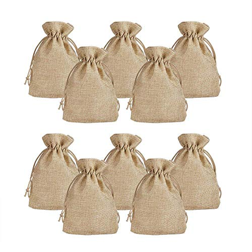 50pcs Jute Burlap Bags with Drawstring Gift Favor Bags Jewelry Pouch for Wedding Party,Arts & Crafts Projects, Presents, Snacks & Jewelry,Christmas,Candy Storage Linen Sacks(5.3*3.7inch) (5.3x3.7inch)