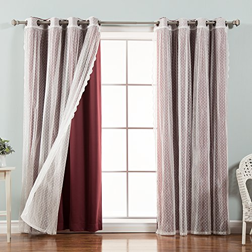 Best Home Fashion Mix & Match Dotted Tulle Lace & Solid Blackout Curtain Set - Antique Bronze Grommet Top - Burgundy - 52