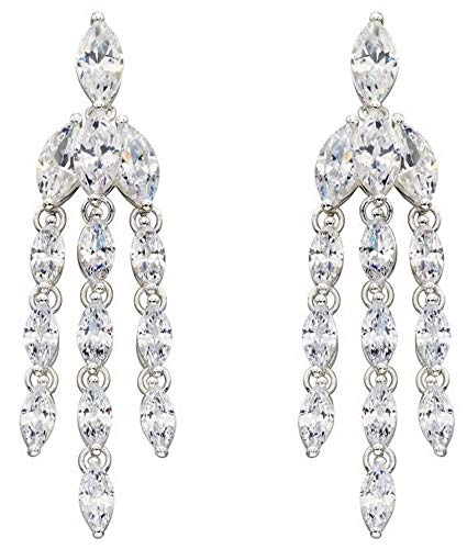 - Elements Silver Womens Cubic Zirconia Marquise Statement Earrings - Silver
