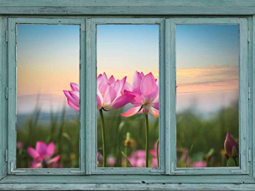 Vintage Teal Window Looking Out Into a Field of Lotus Flowers Wall Mural