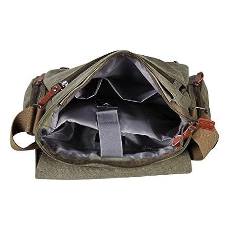 334bd2f329 Minetom Tela Borse Messenger Borsa A Tracolla Corpo Croce Borsa Messenger Vintage  Retro Casuale Uomo Army Green One Size(39*28*14 Cm): Amazon.it: ...