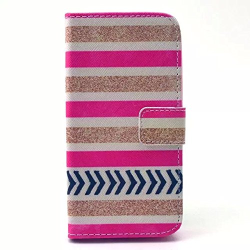 S5 Mini Case, For Galaxy S5 Mini Case, Caselo TM Flip Wallet Pouch Case for Galaxy S5 Mini, [Pink and Yellow Streak Design], Slim Flip Foldable Wallet PU Leather Stand Case Cover with Magnetic Closure for Galaxy S5 Mini,bonus with One Stylus and One Screen Protector Flim--[in Pink]