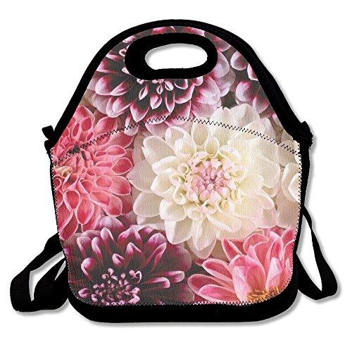 Ghf-LUNCHBAG Dahlia Bloom Wallpaper Lunch Bag Insulated Lunch Box