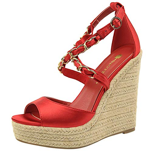 - ✶HebeTop✶ Women's Wedges Sandals High Platform Open Toe Ankle Shoes Red