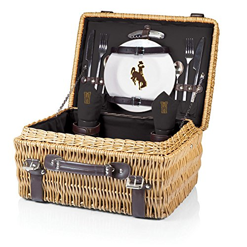NCAA Wyoming Cowboys Champion Picnic Basket with Deluxe Service for Two, - Cowboys Ncaa Pique