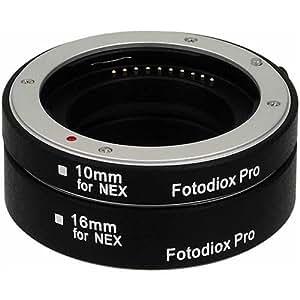 Tubo de extensión Macro Fotodiox Pro automático para Sony E-Mount (NEX) sistema de cámara sin espejo con enfoque automático (AF) y de la exposición con automático TTL para Extreme close-up (10 mm, 16 mm) compatible con Sony NEX-3 -, NEX-5, NEX-7, A7, A7r, etc.