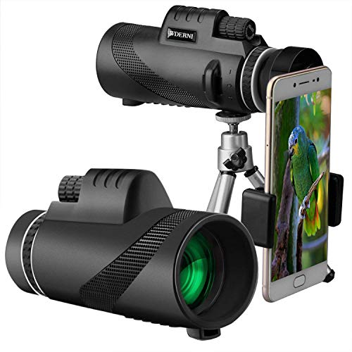 Monocular Telescopes,Wderni 10X42 HD Monocular Telescope with Retractable Eyepiece and Fully Multi Coated Optical Glass Lens, BAK4 Prism Waterproof Fog Monoculars with Steady Tripod and Phone (A-0)