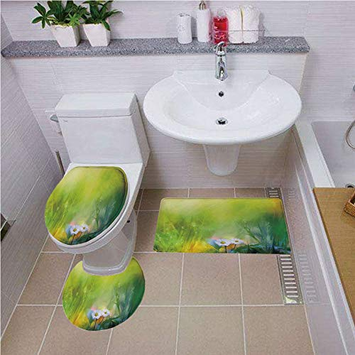 Bath mat Set Round-Shaped Toilet Mat Area Rug Toilet Lid Covers 3PCS,Watercolor Flower Home Decor,Oil Paint Print with Daisies in Field with Blurry Effects,Green White,Bath mat Set Round-Shaped Toile
