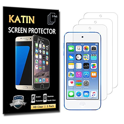 KATIN Apple iPod Touch 5th / 6th Generation HD Clear Film High Definition Screen Protector [3-Pack] with Lifetime Replacement Warranty