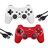 Cheap 2 Pcs Kabi Wireless Bluetooth Controller for PS3,Double Shock Gamepad 6-Axis Remote Game Controller for Playstation 3 with Charging Cable(Red+White)