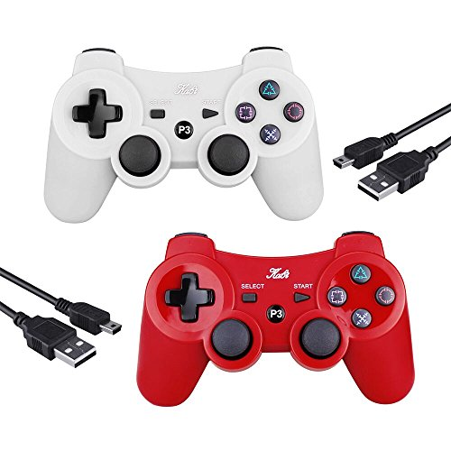 2 Pcs Kabi Wireless Bluetooth Controller for PS3,Double Shock Gamepad 6-Axis Remote Game Controller for Playstation 3 with Charging Cable(Red+White)
