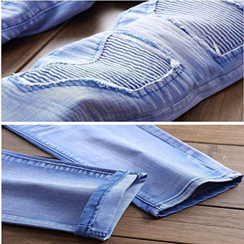 Retrò Lavato Estilo Especial Uomini Jeans Himmelblau Denim 88 Rette Gamba Cher Casuale Pantaloni Orifizi Bobo Essentials Uz7gOxwqq