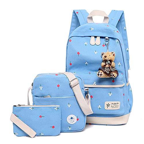 Canvas Skyblue Casual Backpack Girls for Daypack Cotton School Boys Black Kids Shoulder 11 Bag 44wTAEq7