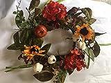 Sunflower Hydrangea Harvest Candle Ring 13 Inch Mini Wreath Centerpiece Decorative Seasonal Accent Piece Indoor Autumn Home Decor