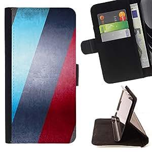 BullDog Case - FOR/Samsung Galaxy S3 III I9300 / - / BLUE & RED STRIPES /- Monedero de cuero de la PU Llevar cubierta de la caja con el ID Credit Card Slots Flip funda de cuer