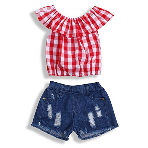 YOUNGER TREE 2Pcs Toddler Girls Clothes Outfit Plaid Ruffle Shirts Top+Denim Shorts Pants Set (5-6T, Red+Denim)