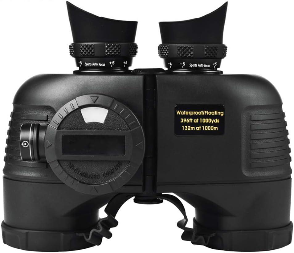 XIEXJ Los Prismáticos, Binoculares 7X50 HD A Prueba De Agua con Telémetro Y Acimut Compás