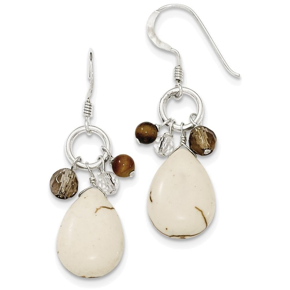 Finejewelers Sterling Silver Crazy Lace Agate//clear and Smokey Qtz//tiger Eye Earrings