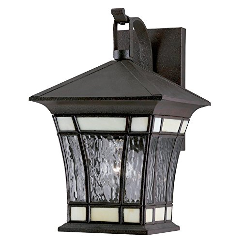 Westinghouse Lighting 6486500 One-Light Exterior Wall Lantern, Textured Rust Patina on Solid Brass and Steel with Water Glass and Tiffany Accents (Fixtures Westinghouse Brass Solid Outdoor)