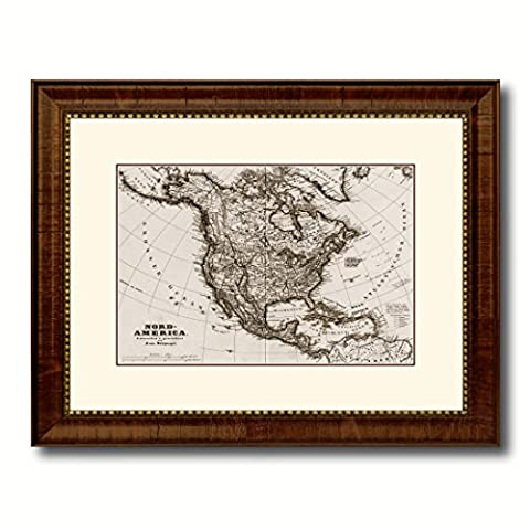 North America Stieler Antique Sepia Map 42025 Print on Canvas with Picture Frame Art Office Wall Home Office Décor Interior Gift Ideas - Brown 16